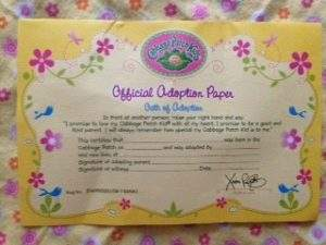 Cabbage patch kids fun to feed baby review cori39s cozy corner for Cabbage patch birth certificate template