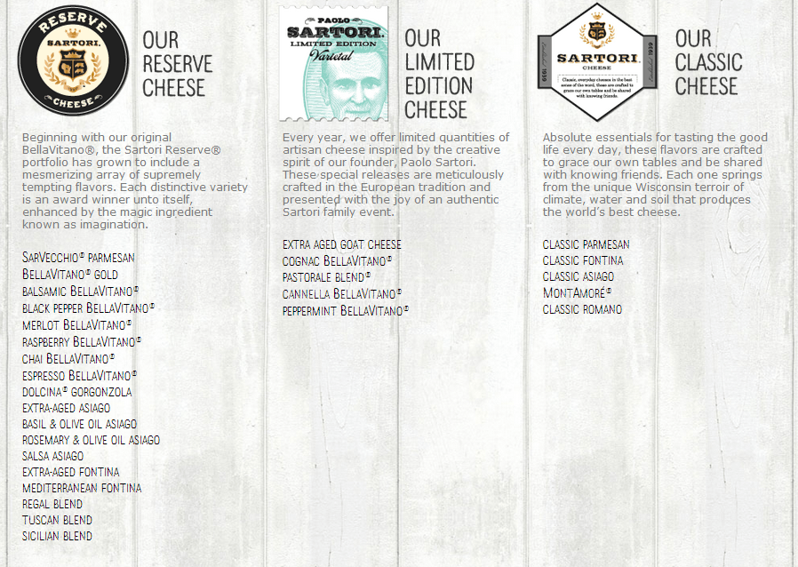 sartori cheese varieties