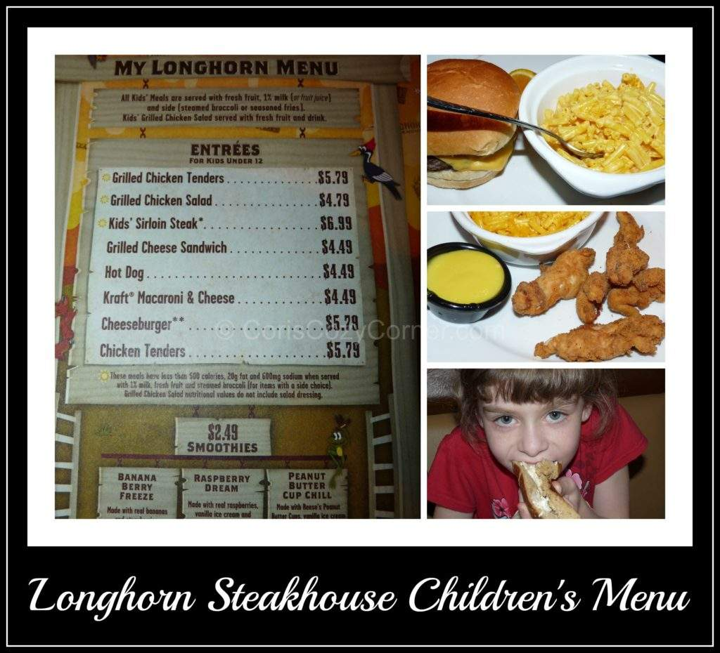 longhorn steakhouse children's menu