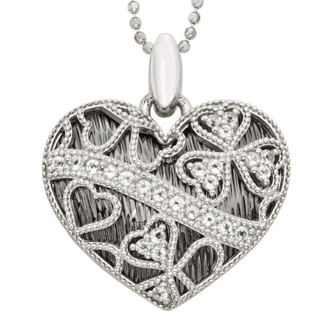 black and white heart pendant