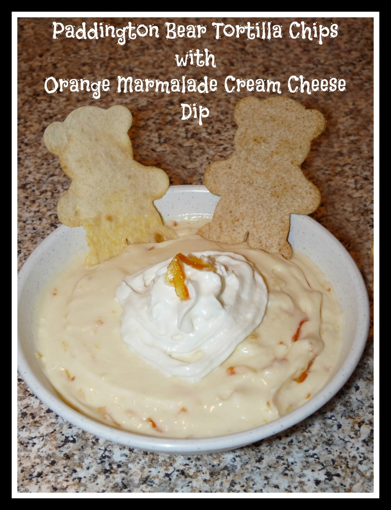 paddington bear tortilla chips with orange marmalade cream cheese dip