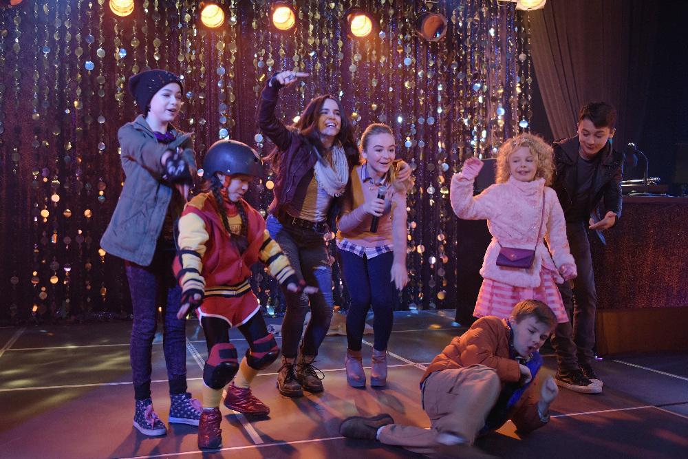 "ADVENTURES IN BABYSITTING - The 100th Disney Channel Original Movie, ""Adventures in Babysitting,"" starring popular actresses and recording artists Sabrina Carpenter (""Girl Meets World"") and Sofia Carson (""Descendants""), premieres FRIDAY, JUNE 24 (8:00 p.m. EDT) on Disney Channel. (Disney Channel/Ed Araquel) NIKKI HAHN, MADISON HORCHER, SOFIA CARSON, SABRINA CARPENTER, JET JURGENSMEYER, MALLORY JAMES MAHONEY, MAX GECOWETS"