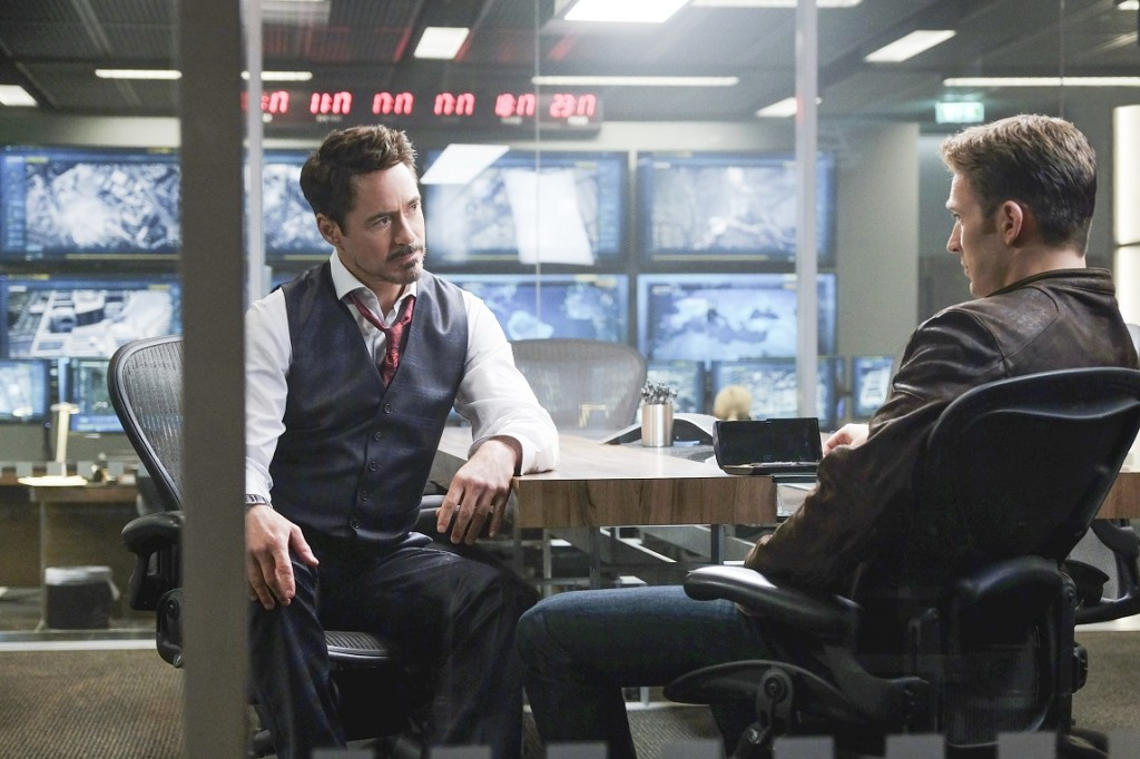 L to R: Tony Stark/Iron Man (Robert Downey Jr.) and Steve Rogers/Captain America (Chris Evans) Photo Credit: Zade Rosenthal © Marvel 2016
