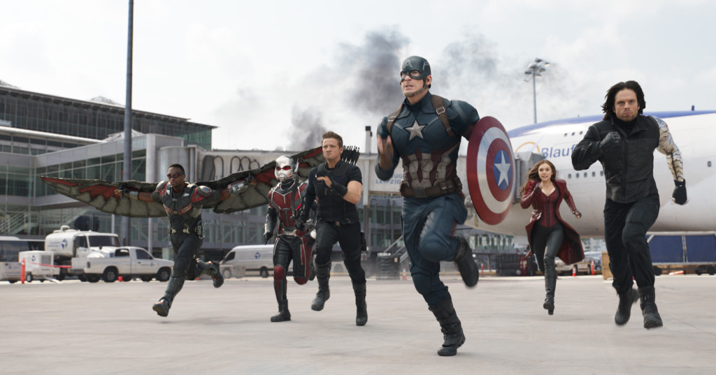 L to R: Falcon/Sam Wilson (Anthony Mackie), Ant-Man/Scott Lang (Paul Rudd), Hawkeye/Clint Barton (Jeremy Renner), Captain America/Steve Rogers (Chris Evans), Scarlet Witch/Wanda Maximoff (Elizabeth Olsen), and Winter Soldier/Bucky Barnes (Sebastian Stan) Photo Credit: Film Frame © Marvel 2016
