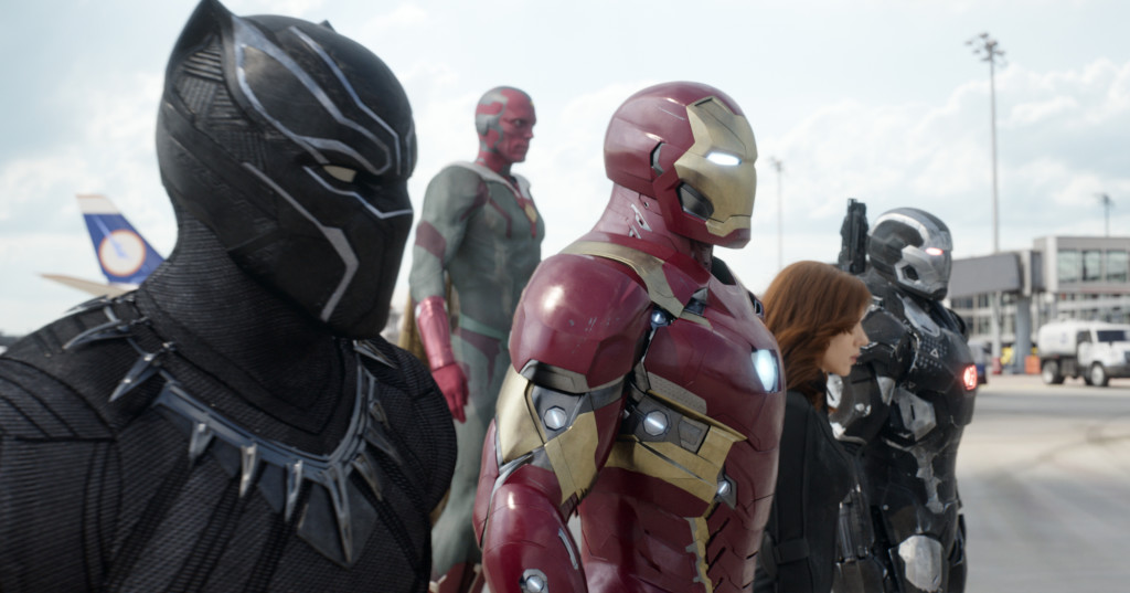L to R: Black Panther/T'Challa (Chadwick Boseman), Vision (Paul Bettany), Iron Man/Tony Stark (Robert Downey Jr.), Black Widow/Natasha Romanoff (Scarlett Johansson), and War Machine/James Rhodey (Don Cheadle). Photo Credit: Film Frame © Marvel 2016