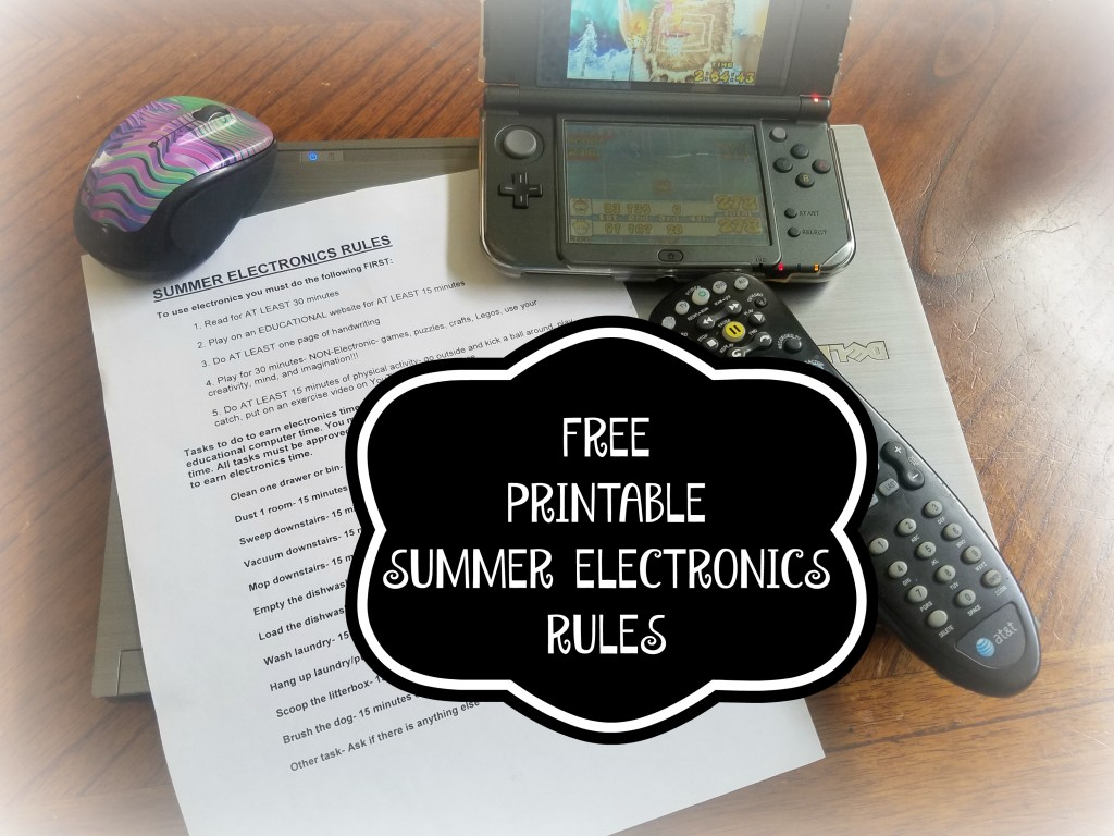 FREE PRINTABLE SUMMER ELECTRONICS RULES