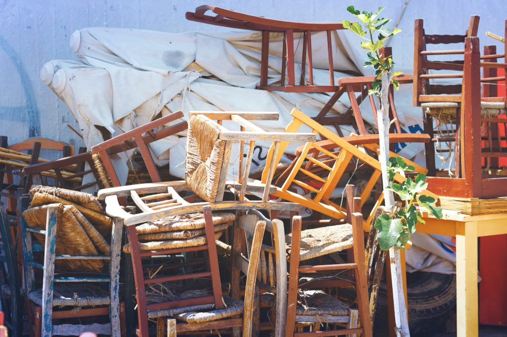 furniture, retro, old, wooden chairs, stacked, street