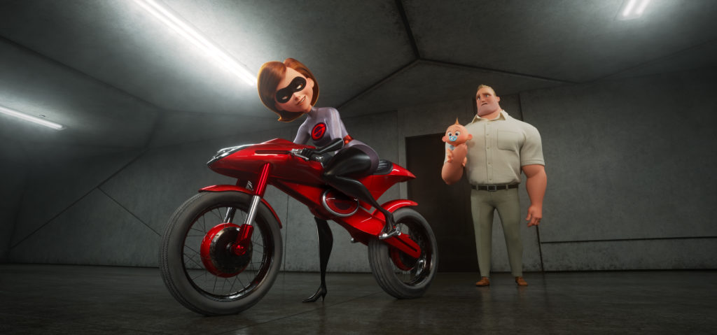"TAKING THE WHEEL -- In ""Incredibles 2,"" Helen aka Elastigirl is called on to help bring Supers back. Her mission comes with a brand-new Elasticycle, a state-of-the-art cycle that is designed just for her. Meanwhile, Bob navigates the day-to-day heroics of ""normal"" life at home. Featuring the voices of Holly Hunter and Craig T. Nelson, Disney•Pixar's ""Incredibles 2"" busts into theaters on June 15, 2018. ©2018 Disney•Pixar. All Rights Reserved."
